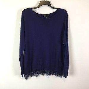 Lane Bryant Scallop Lace Hem Royal Purple Sweater